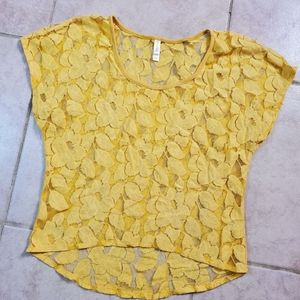 Xhilaration yellow floral shirt